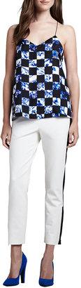 Tibi Colorblock Zipper-Cuff Cropped Pants