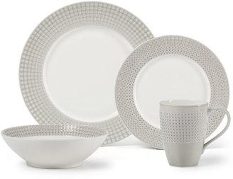 Mikasa Dinnerware, Crisscross Grey 4 Piece Place Setting