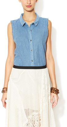Free People Chambray Sleeveless Button Down Top