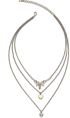 American Rag Gold-Tone Layered Stone and Crystal Three-Row Pendant Necklace