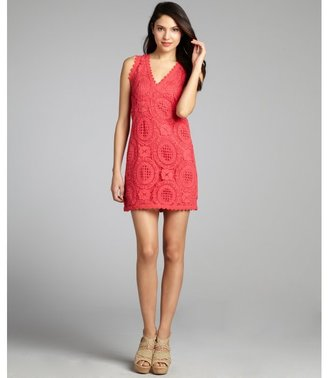 French Connection techno pink cotton lace 'T-Lark' sleeveless v-neck dress