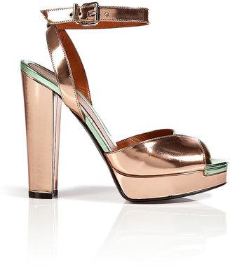 Fendi Quartz/Mint Metallic Leather Platform Sandals