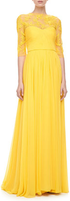 Monique Lhuillier Illusion Embroidered Gown, Yellow