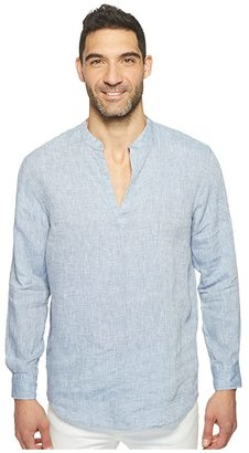 Perry Ellis Long Sleeve Solid Linen Popover Shirt (Colony Blue) Men's Long Sleeve Button Up