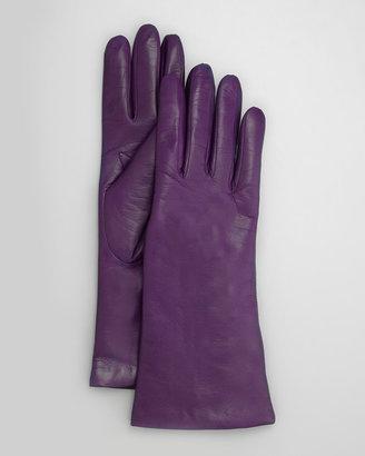 Portolano Four-Button Leather Gloves, Iris