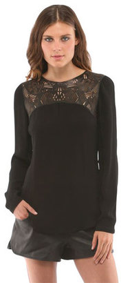 Cynthia Vincent Leather Cutout Blouse