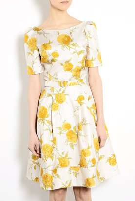 Suzannah Fifties Slash Neck Oriental Bloom Print Dress