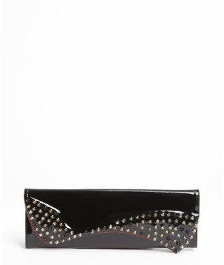 Christian Louboutin black patent leather studded detail clutch