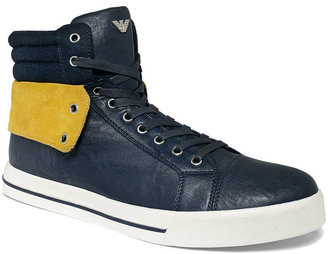 Armani Jeans Leather Hi-Top Sneakers