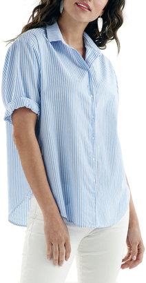 Finley Izzy Striped Button-Up Camp Shirt