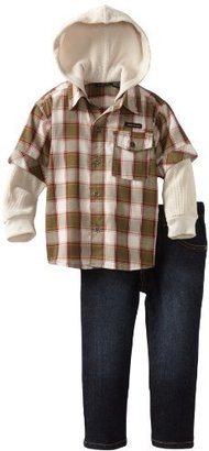 Calvin Klein Boys 2-7 Over Printed Plaid Shirt Slider with Jeans