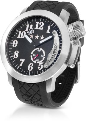 Haurex Armata Stainless Steel Black Rubber Strap Date Watch