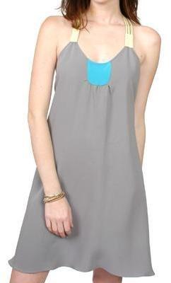 Olga Kapustina gray and neon racerback dress