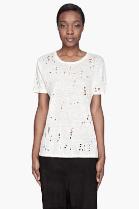 IRO Pale yellow distressed linen Clay T-Shirt