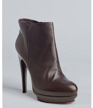 Fendi dark brown nappa leather platform ankle booties