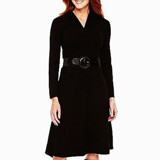 JCPenney Belted Shawl Neck Sweater Dress