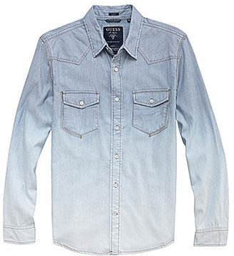 GUESS Long-Sleeve Striped Sportshirt