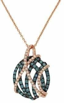 Effy 14K Rose Gold, 0.9 TCW Blue Diamond Diamond Pendant Necklace
