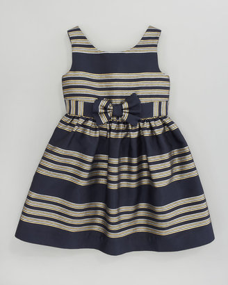 Lilly Pulitzer True Glam Metallic-Striped Dress, Navy