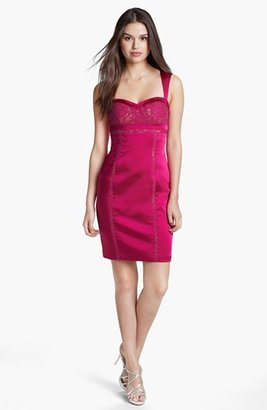 Aidan Mattox Lace Inset Satin Sheath Dress (Online Only)
