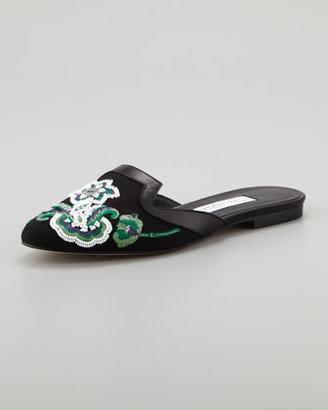 Oscar de la Renta Floral-Embroidered Flat Mule, Black