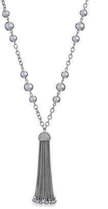 Charter Club Imitation Pearl and Chain Tassel Long Necklace
