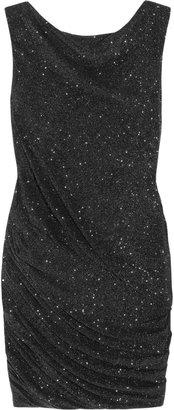 Jay Ahr Glittered stretch-crepe jersey mini dress