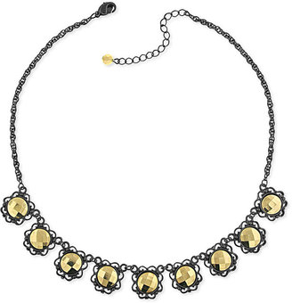 2028 Necklace, Two-Tone Round Drop Collar Necklace