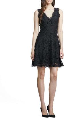 Joie Nikolina Fringe-Trim Lace Dress