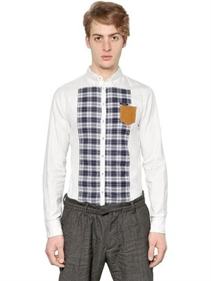 DSquared Checked Flannel & Cotton Oxford Shirt