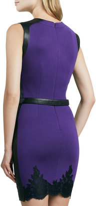 Robert Rodriguez Belted Two-Tone Lace-Trim Dress