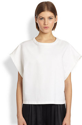 ADAM by Adam Lippes Boxy Woven Cotton Tee