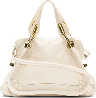 Chloé Light Beige Grained Leather Medium Paraty Shoulder Bag