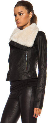 Rick Owens Beaver Classic Biker Leather Jacket in Black