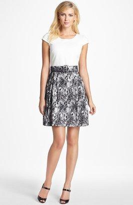 Betsey Johnson Mixed Media Fit & Flare Dress