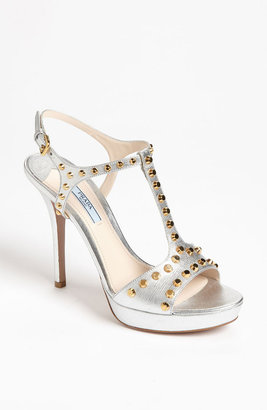 Prada Studded T-Strap Sandal