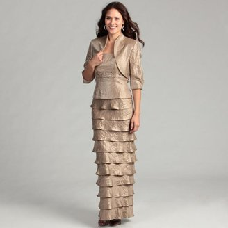Jessica Howard Women's Taupe Tiered 2-piece Dress $114.99 thestylecure.com