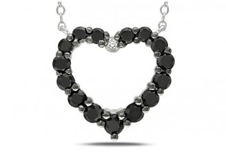 Ice 1 CT Black and White Diamond Silver and Black Rhodium Heart Pendant Necklace