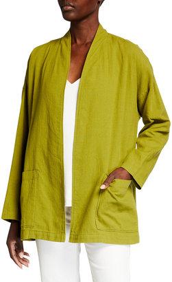 Eileen Fisher Petite Organic Cotton-Blend High Collar Crepe Jacket