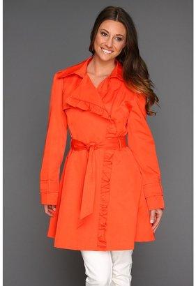 Jessica Simpson Asymmetrical Zip Trench Coat w/ Ruffle (Tangerine) - Apparel