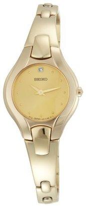 Seiko Women's SUJF88 Diamond Gold-Tone Dress Watch $220 thestylecure.com