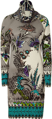 Etro Heather Grey /Ecru Knit Dress Purple/Black Patterned