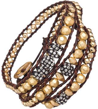 Blu Bijoux Gold Wavy Beaded Wrap Bracelet