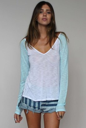 Blue Life V-Neck Baseball Tee in White with Ocean Breeze