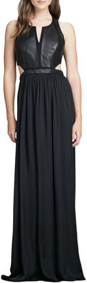Rebecca Taylor Leather-Panel Cutout Gown