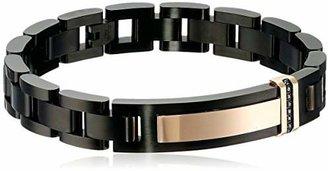 Black Diamond Men's 0.10 cttw Stainless Steel Black and Rose Id Bracelet