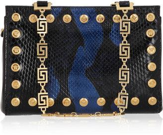 Versace Two-tone studded python shoulder bag