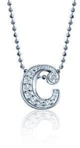 Alex Woo Lowercase Diamond 'C' Necklace - White Gold