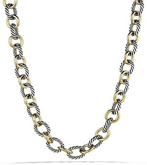 David Yurman Oval Large Link Necklace with Gold, 18.25