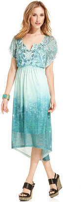 Style&Co. Petite Dress, Flutter-Sleeve Printed Ombre Empire-Waist